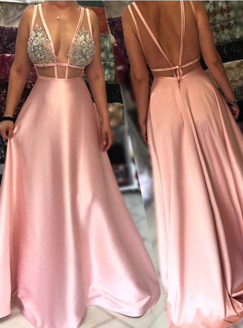Charming Open Back Evening Gowns Long Formal Dress Sexy Long Party Dress
