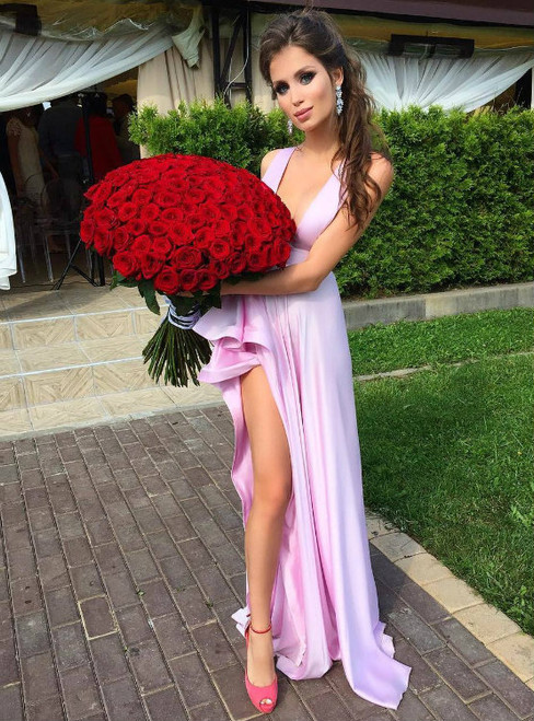 Gorgeous Sexy Deep V neck Satin Prom Party Dresses with Side Slit and Ruffles 2017