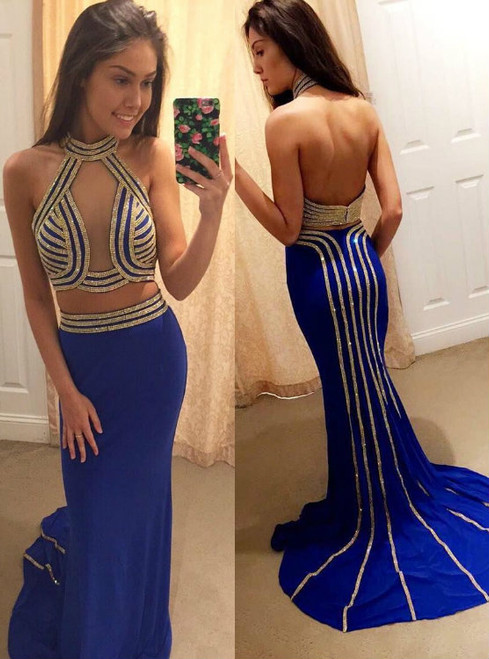Fashion Sexy Halter Two Piece Mermaid Prom Dresses with Gold Appliques 2017
