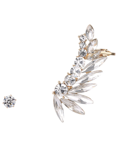 Noble Leaf Ear Cuff And Rhinestone Earring