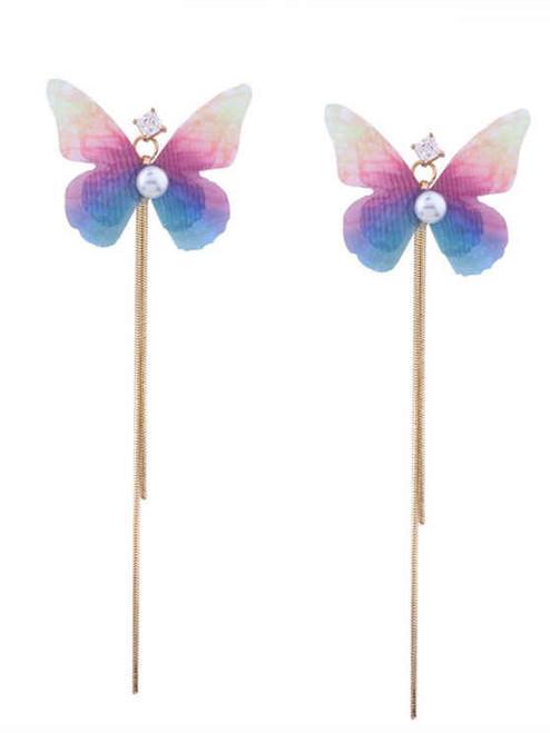 Butterfly Earrings Rhinestone Fringed Chain Ombre
