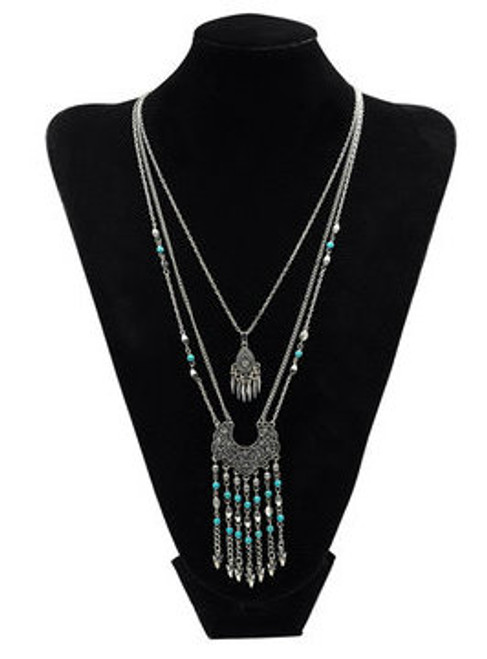 Cheap Vintage Three Chain Layered Necklace With Tassels Details