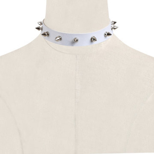 Cheap White Rivet Artificial Leather Choker Necklace