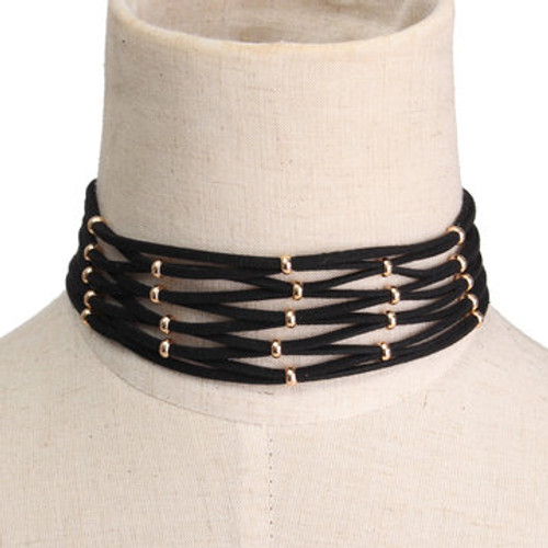 Cheap Black Suede Ribbon Gold Plated Bead Choker Necklace