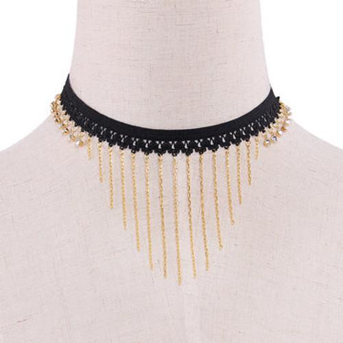Cheap Tassels Pendant Stretch Choker Necklace