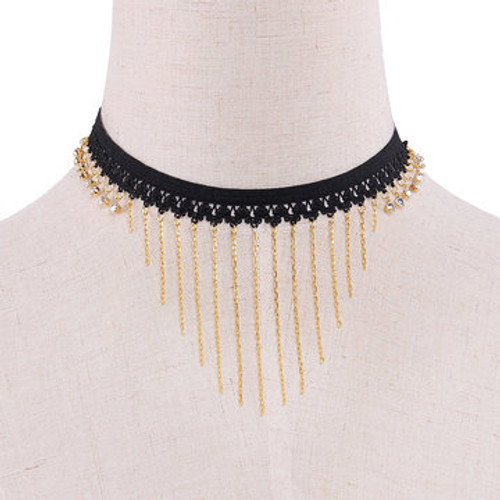 Cheap Tassels Pendant Stretch Choker Necklace
