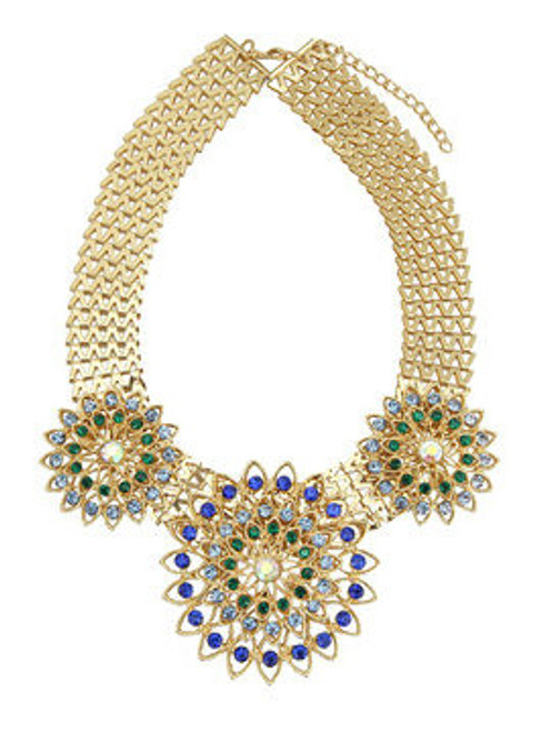 Fashion Chunky Gold Chain Flower Necklace