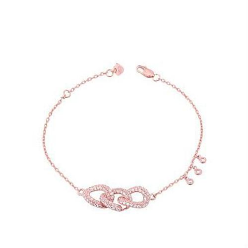 Cheap tock Fashion Three-ring clasped thin chain Bracelet