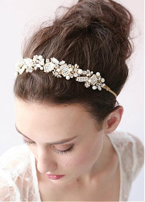 Fashion Glamoroust Wedding Hair Jewelry With Rhinestones & Pearls