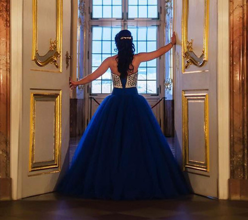 Royal Blue Ball Gown Prom Dresses 2017