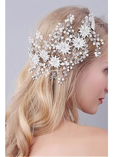 Jewelry With Rhinestones & Pearls Chic Alloy Wedding Hair