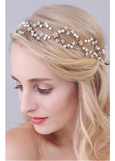Jewelry With Rhinestones & Pearls Elegant Wedding Hair
