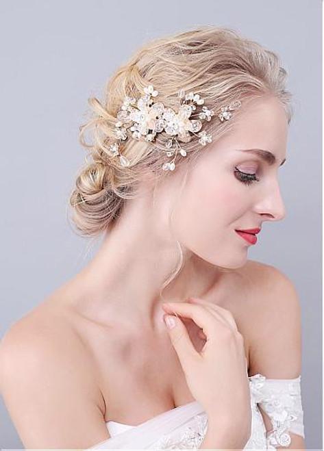 Hair Jewelry With Rhinestones & Pearls Fabulous Alloy Wedding