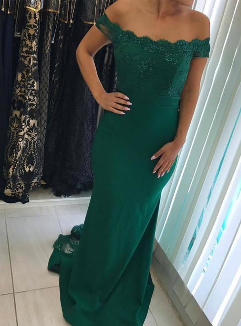 Dark Green Mermaid Long Bridesmaids Dresses 2017