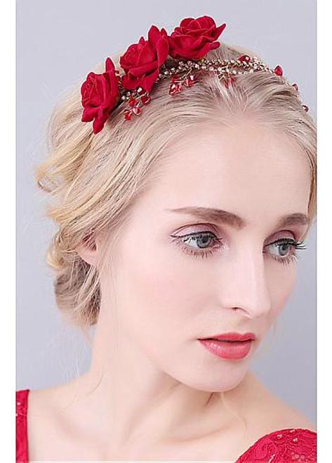 Ornaments With Cloth Roses & Rhinestones Wedding Hair