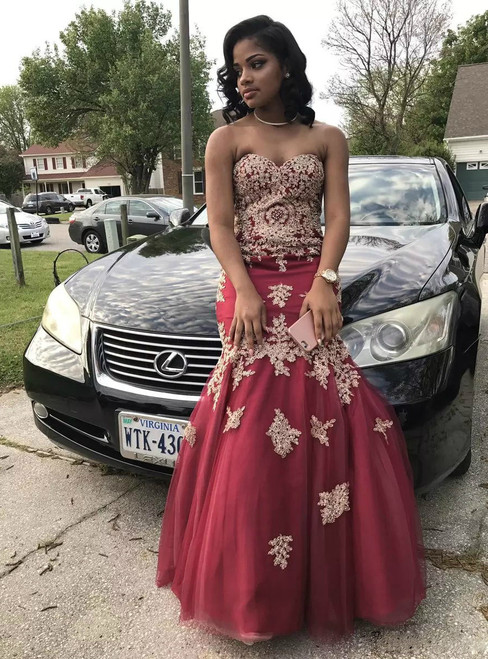 African Burgundy Prom Dresses Tulle Mermaid Sweetheart Long Party Dress