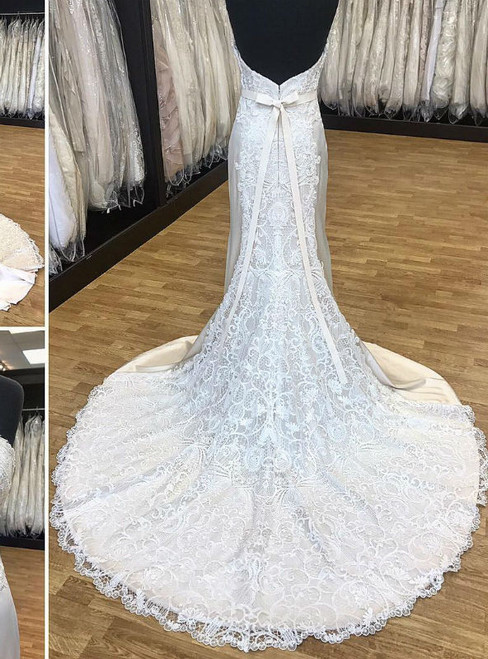 Cheap Elegant Strapless Mermaid Long White Bridal Gown