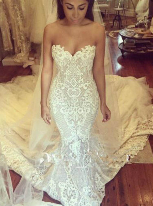 Fancy Luxury Mermaid Wedding Dresses Strapless Bridal Dresses Sweetheart