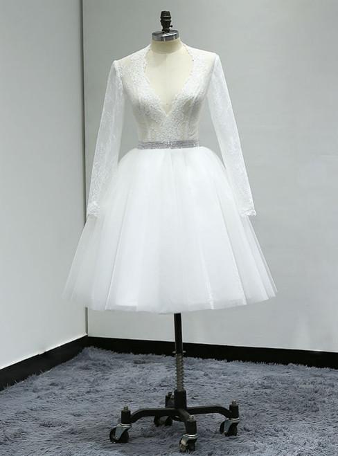 White Knee Length Turkey Lace Long Sleeve  Short Wedding Dress