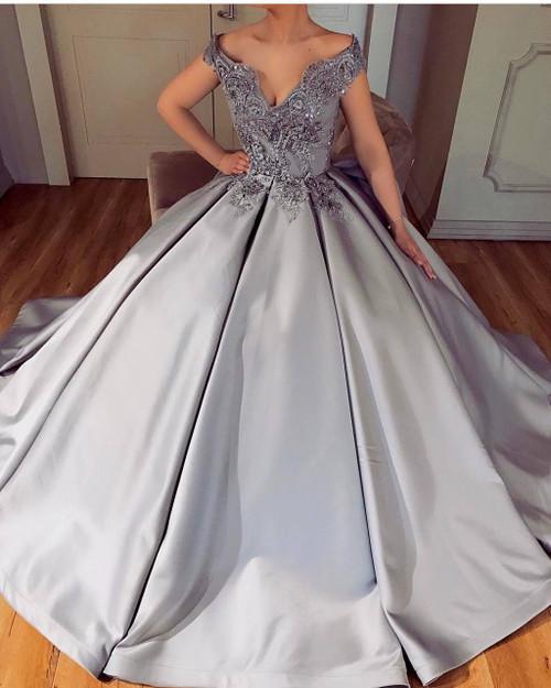 Arabic Dubai Ball Gown Evening Dress Lace Appliques