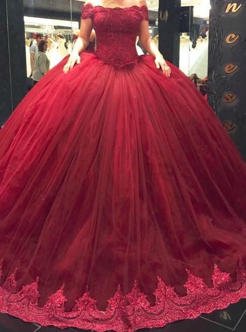 Burgundy Ball Gown Short Lace Straps Off Shoulder Princess Wedding Dress