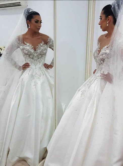 Adorable Luxurious Lace Arabic 2018 Wedding Dresses Sheer Neck Long Sleeves Ball Gown