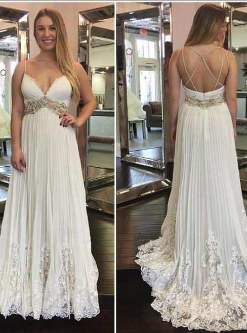 Wonderful Lace Crystals 2018 Beach Wedding Dresses Spaghetti Backless A-line Chiffon