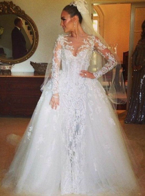 Adorable Sheer Neck Long Sleeves Lace Beaded Wedding Dresses Ball Gown