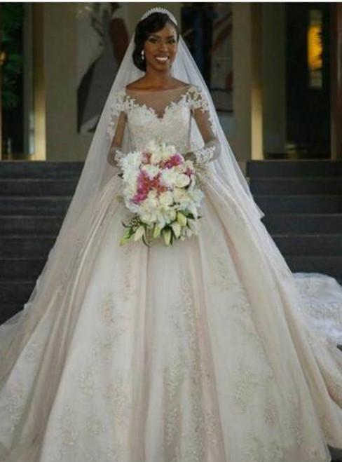Elegant Champagne Long Sleeve Brilliant Princess Wedding Dresses