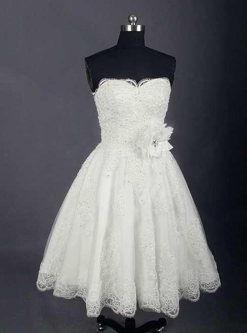 Fashion Short Wedding Dress Knee Length Lace Ivory Simple Vintage Wedding Gown