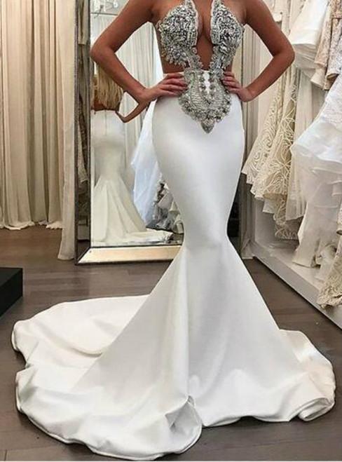Romantic 2018 Stunning Mermaid Satin Wedding Dresses Beading CrystalsGorgeous Bridal Gowns