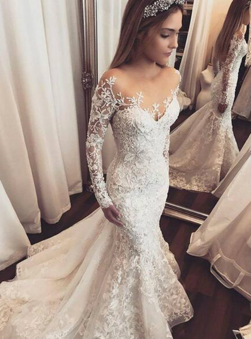 Impressive Mermaid Tulle Wedding Dresses Sheer Long Sleeve Lace Appliques Gorgeous