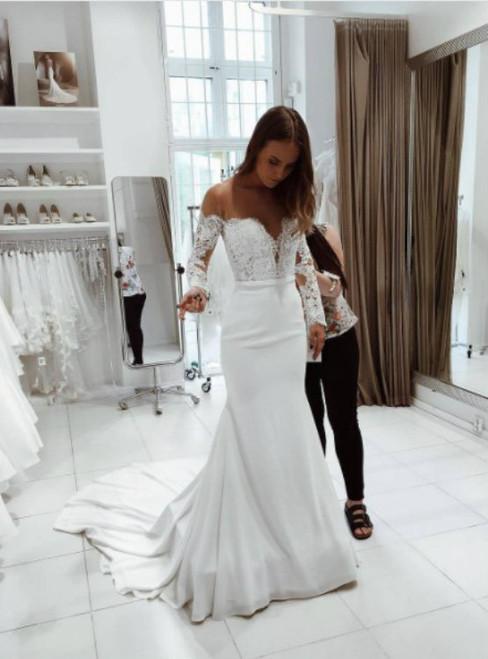 Noble Mermaid Wedding Dress Long Sleeves Bridal Dress Sexy Off Shoulder Sleeves