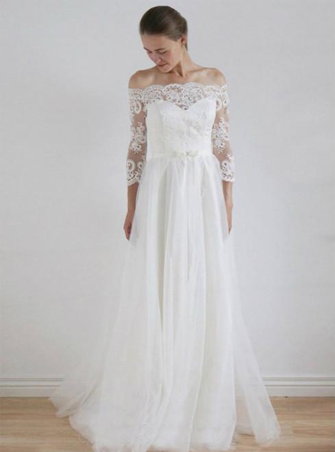 Fashion Long Wedding Dress Lace Wedding Dress  A-Line Bridal Dress