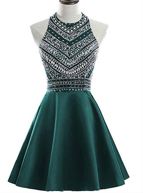 A-Line Green Satin Crystal Short Homecoming Dress