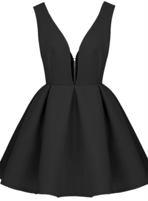 Queenly Deep V-neck Homecoming Dresses A-line Homecoming Dresses V-back
