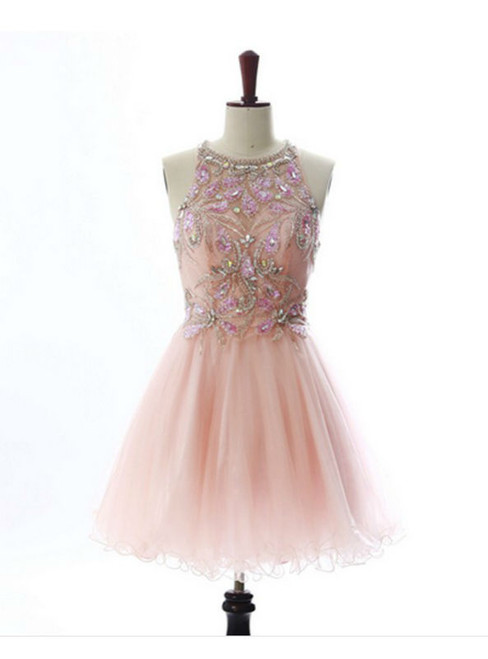 Attractive A lines Pink Homecoming Dresses Open Back Sleeveless Beaded Scoop Mini Homecoming Dress