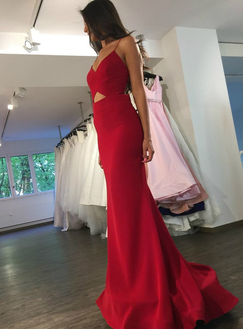 Evening Dress ,Red Satin Backless Mermaid Evening Dress 2017