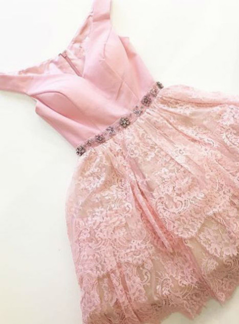Impressive Pink Homecoming Dresses Zippers Sleeveless N/A V-Neck Scoop Short Lace