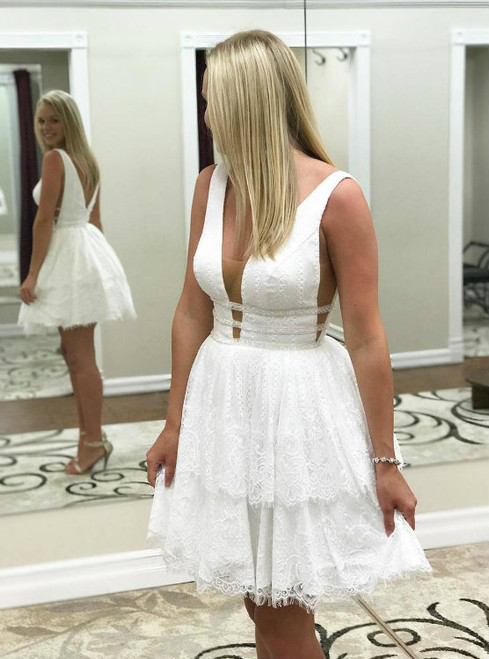 Princess A-line Short White Lace Homecoming Dress Party Dress