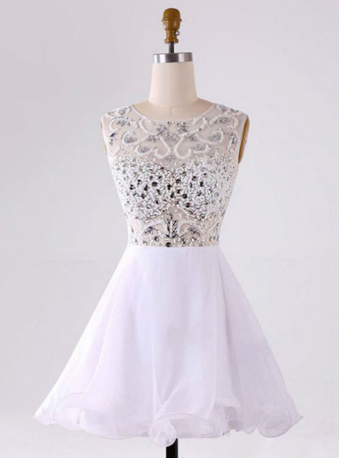 Popular White Homecoming Dresses Zippers Sleeveless A lines Bateau Mini