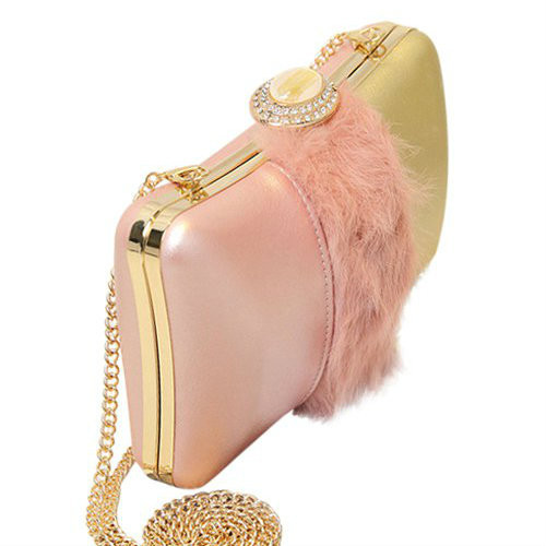 Cheap Chains Faux Fur Rhinestone Evening Bag