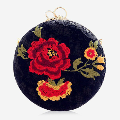 Fashion Embroidery Metal Ring Clutch Bag