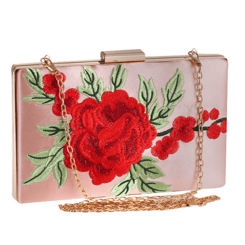Beautiful Flower Embroidery Clutch Bag