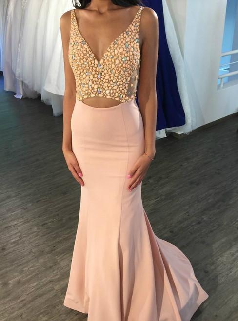 Evening Dress ,Opening Back Mermaid Evening Dress 2017