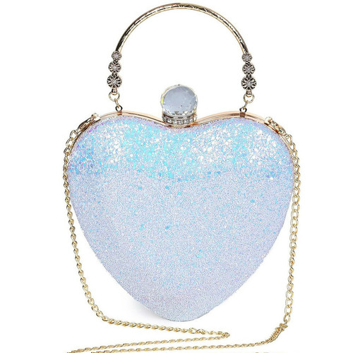 Fashion  Rhinestones Heart Shape Evening Bag