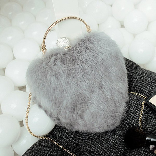 Fashion Heart Shape Metal Faux Fur Evening Bag