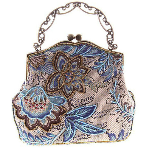 Cheap Floral Embroidery Bead Clutch Bag