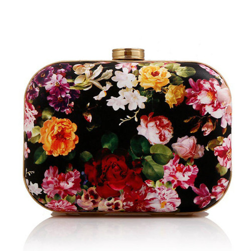 Cheap Floral Printed Two Way Box Clutch