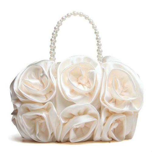 Cheap Satin Floral Bead Handle Clutch Bag